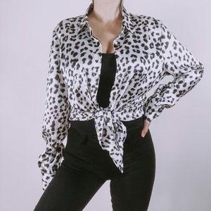Ann Taylor Leopard Silk Button Down Top